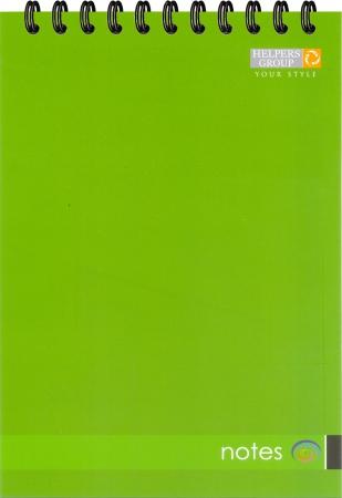 Блокнот А5, 96л, офс., пруж. верт. зелений