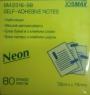 Бумага для заметок жёлтая Buromax Jobmax Neon 76x76мм, 80 листов