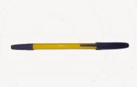 Ручка синяя шариковая, жёлтый корпус